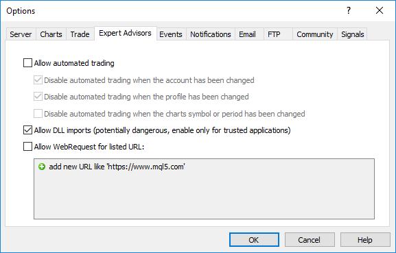 MQL5 プログラムの「インポートDLLを許可」オプション