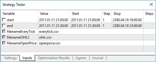 WriteTicksFromTester エキスパートアドバイザーのティックの始まりと終わりの日(start 及び end 変数)の指定が可能です。